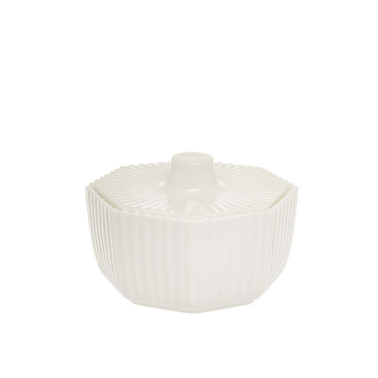 Striped porcelain sugar bowl