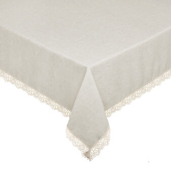 Linen blend tablecloth with lurex and lace trim