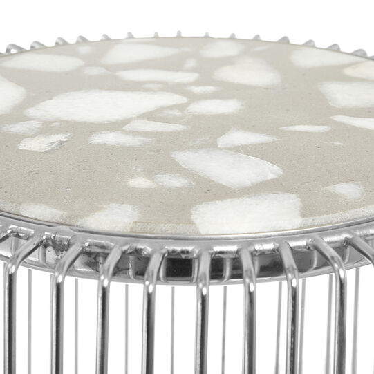 Coffee table in chromed aluminium and Marble stone
