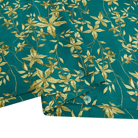 Cotton satin duvet cover with floral pattern