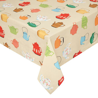 100% cotton tablecloth with teapot print