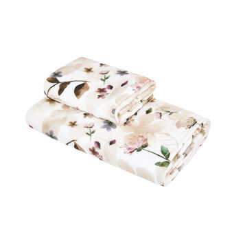 Cotton velour towel with flower print