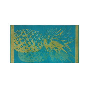 Velour cotton beach towel pineapple motif
