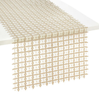 Geometric openwork table runner with lurex