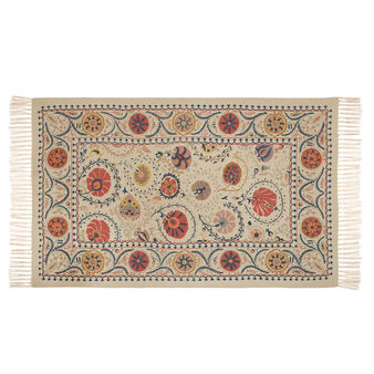 Tappeto cotone tessuto a mano con ricami in lana