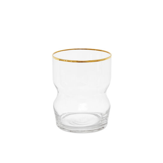 Glass tumbler with gold line