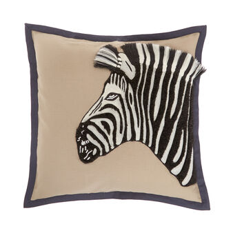 Cotton cushion with zebra embroidery 45 x 45 cm