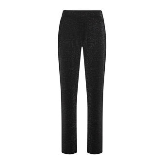 Solid color trousers with lurex