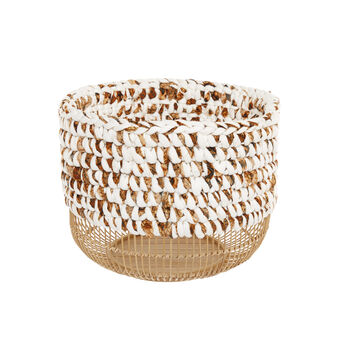 Basket in woven bamboo and canvas