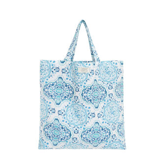 Shopper in cotone fantasia ornamentale