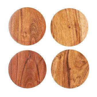 Set of 4 acacia wood drinks coasters