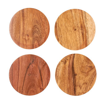 Set of 4 acacia wood drinks coasters