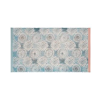 Cotton terry beach towel with mandala print