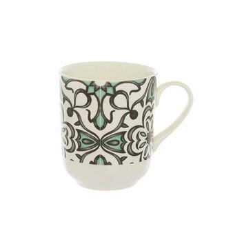 Tapestry decorated ceramic mug