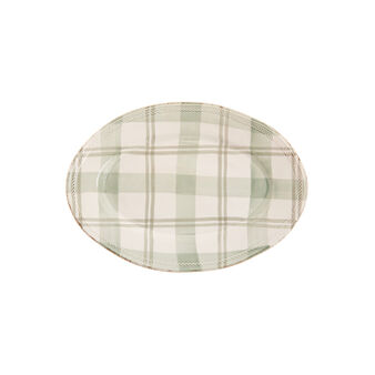 Oval tartan ceramic plate