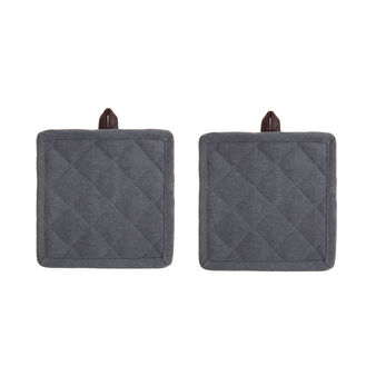 Set of 2 pot holders in stonewashed cotton