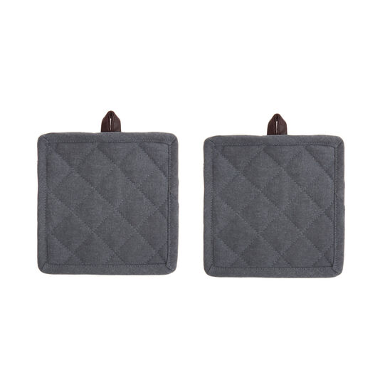 Set of 2 pot holders in 100% stonewashed cotton with pleather trim