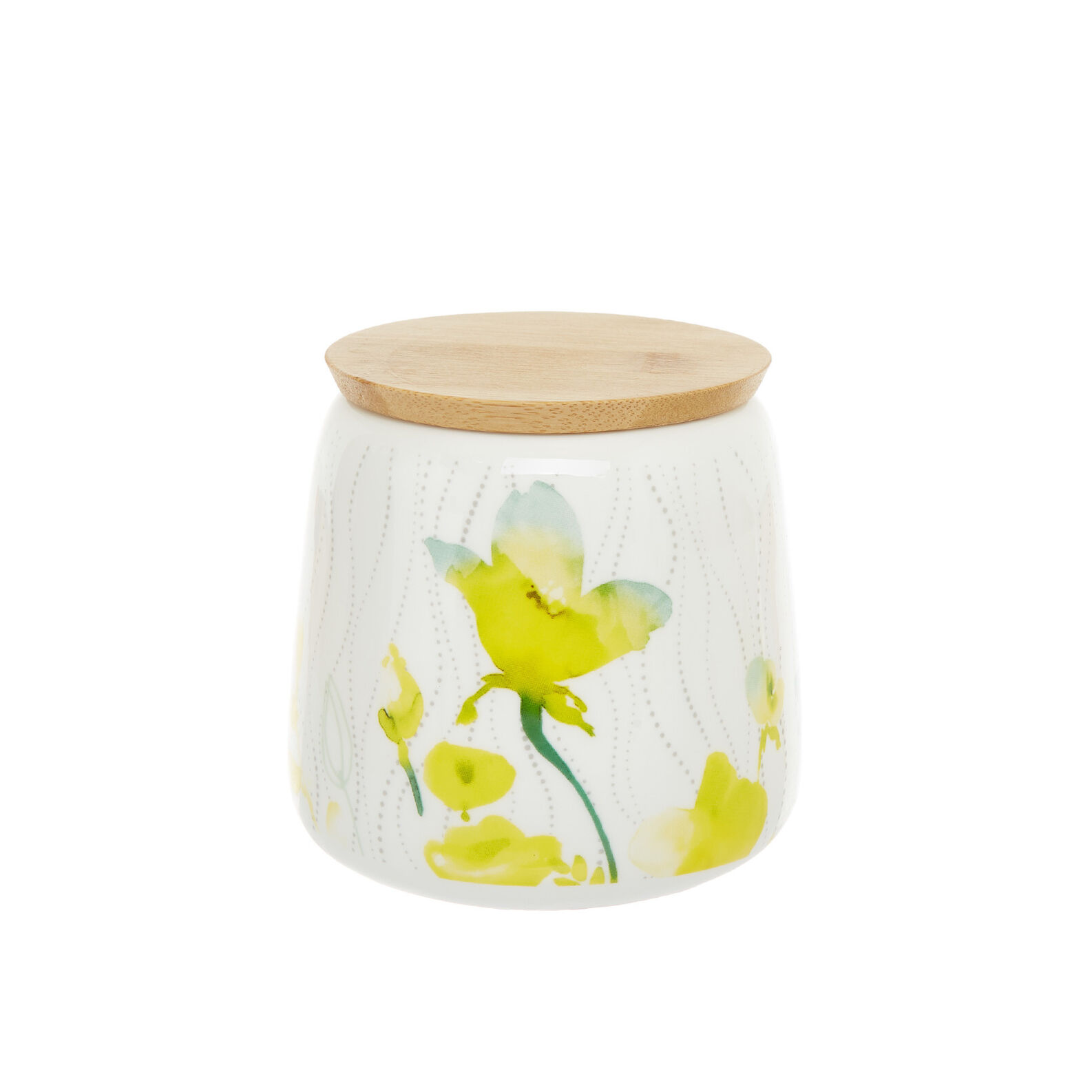 Jar in new bone China with yellow flowers