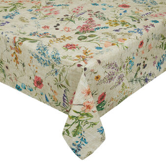 Water-repellent teflon tablecloth with floral print