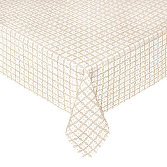 Geometric openwork table cover with lurex