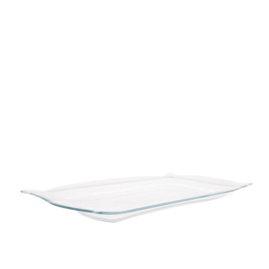 Rectangular tray in clear glass