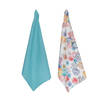 2-pack tea cloths in 100% cotton with flower print