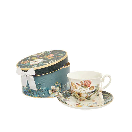 Teacup in new bone China with floral motif