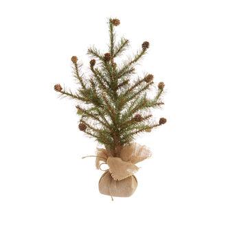 Decorative sapling with pine cones