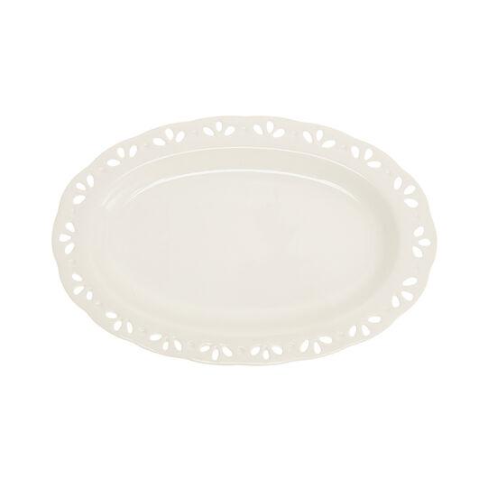 Oval openwork ceramic plate