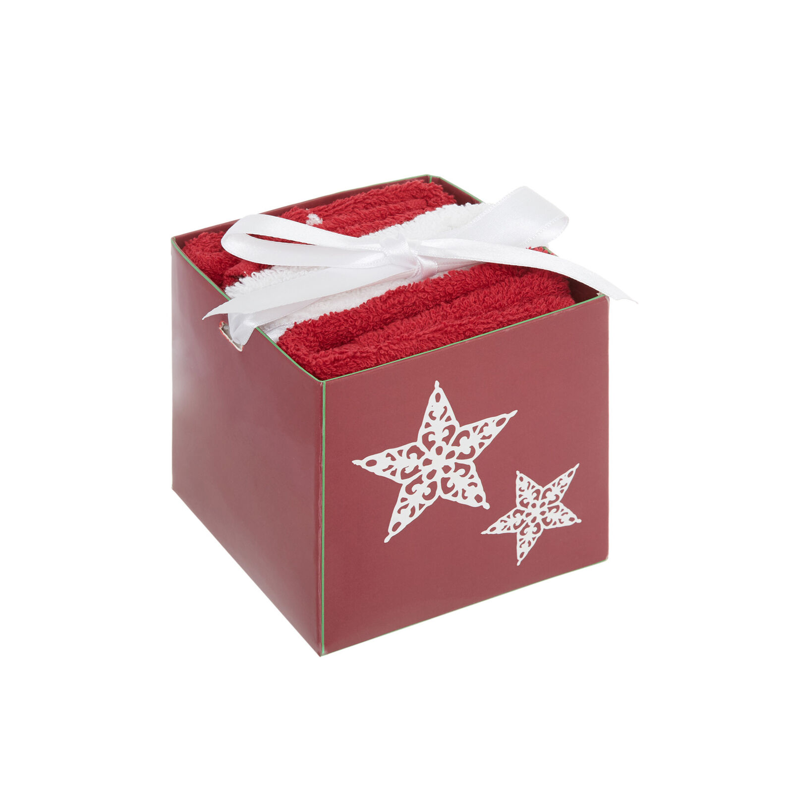 Box with 3 face cloths with embroidered star