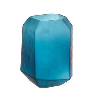 Coloured glass prism vase with frosted effect