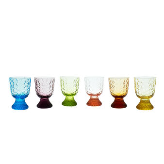Set of 6 decorated blown glass goblets