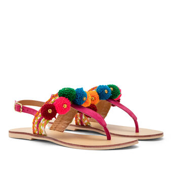 Thong sandal with pompoms