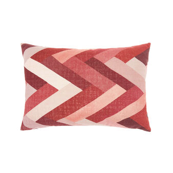 Velvet cushion with zigzag print (35x55cm)