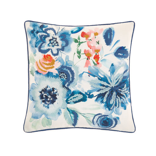 Cushion with floral motif embroidery 45x45cm