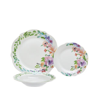 Set of 18 Floral porcelain plates