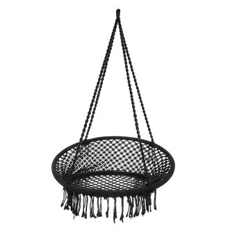 Cotton cord hammock with solid colour fringing