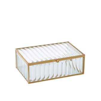 Jewellery box in metal and glass