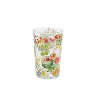 Glass water tumbler with tropical motif