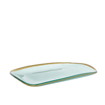 Glass tray with gold edge