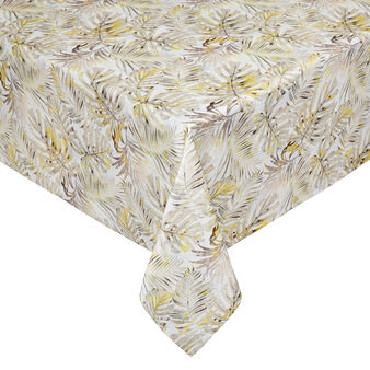 Cotton twill tablecloth with leaf print
