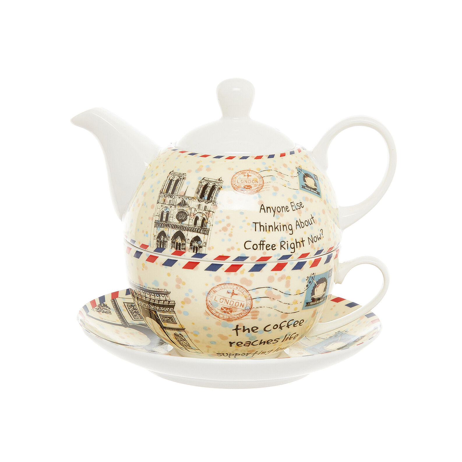 Tea for one new bone china with stamp decoration