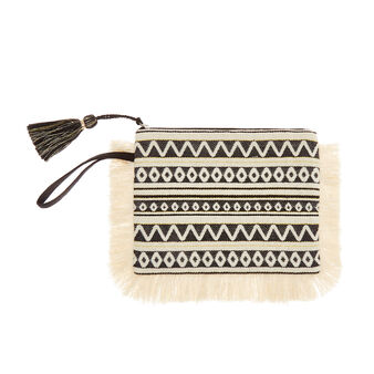 Jacquard cotton beach clutch