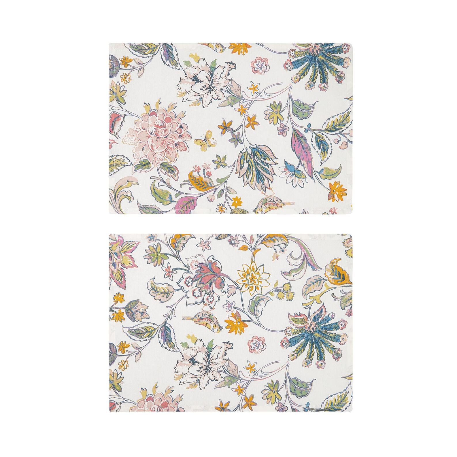 Set of 2 table mats in 100% cotton with floral print