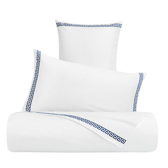 Flat sheet in cotton percale with Greek embroidery