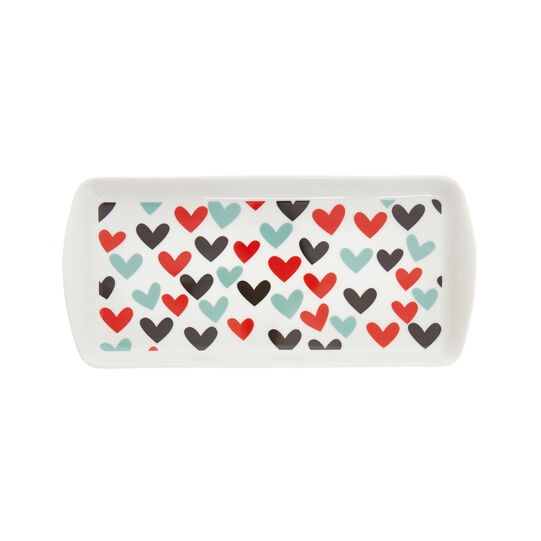 Rectangular plate in new bone China with hearts