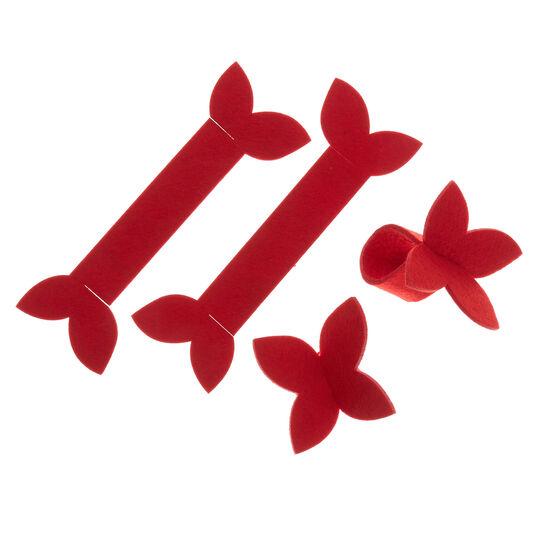 Set 4 portatovaglioli in feltro a farfalla