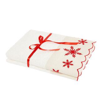 Set 2 asciugamani balza ricamo fiocchi di neve