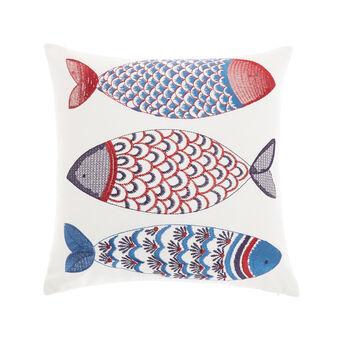 Cuscino con pesci ricamati