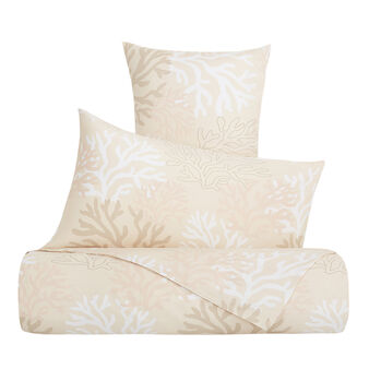 Cotton satin duvet cover set with coral pattern